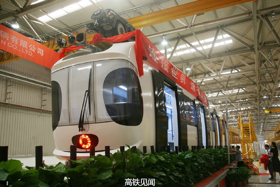 China's first sky train off assembly line